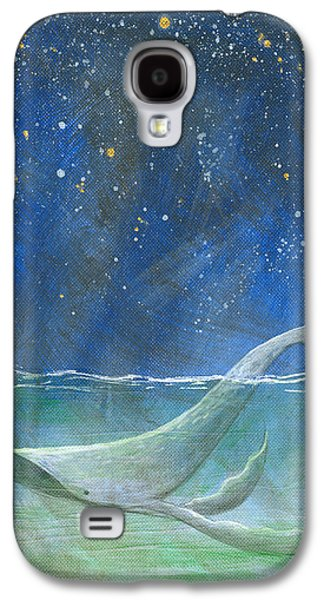 Constellations Paintings Galaxy S4 Cases - Night Falls - Humpback Whale Galaxy S4 Case by Aprille Lipton