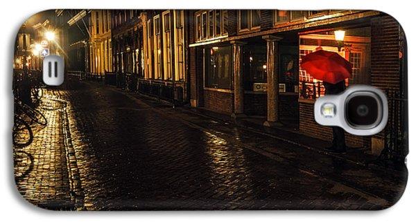 Evening Scenes Photographs Galaxy S4 Cases - Night Lights of Utrecht. Orange Umbrella. Netherlands Galaxy S4 Case by Jenny Rainbow
