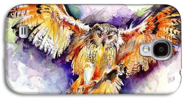 Sombre Galaxy S4 Cases - Night Owl Watercolor Galaxy S4 Case by Tiberiu Soos