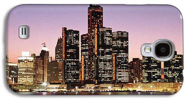 Renaissance Center Galaxy S4 Cases - Night Skyline Detroit Mi Galaxy S4 Case by Panoramic Images