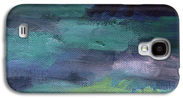 Nature Abstracts Mixed Media Galaxy S4 Cases - Night Swim- abstract art Galaxy S4 Case by Linda Woods