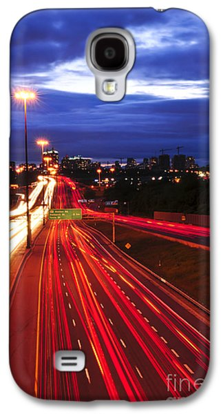 Transportation Photographs Galaxy S4 Cases - Night traffic Galaxy S4 Case by Elena Elisseeva