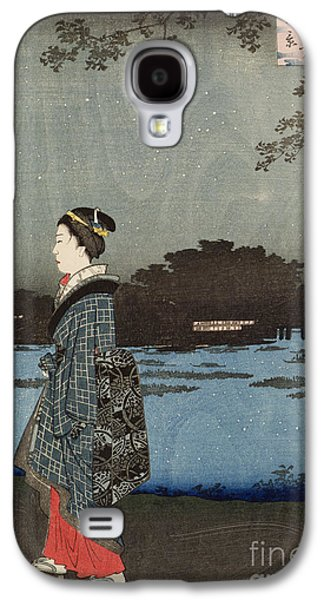 Night Sky Paintings Galaxy S4 Cases - Night View of Sanya Canal and Matsuchi Hill Galaxy S4 Case by Hiroshige