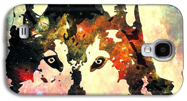 Nature Scene Mixed Media Galaxy S4 Cases - Night Wolf Galaxy S4 Case by Anastasiya Malakhova