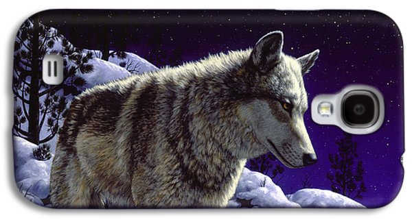 Dogs In Snow. Galaxy S4 Cases - Night Wolf iPhone Case Galaxy S4 Case by Crista Forest