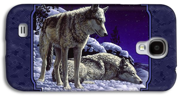 Snow Scene Galaxy S4 Cases - Night Wolves Painting for Pillows Galaxy S4 Case by Crista Forest