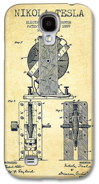 Nikola Tesla Electro Magnetic Motor Patent Drawing From 1889 - V Galaxy S4 Case by Aged Pixel