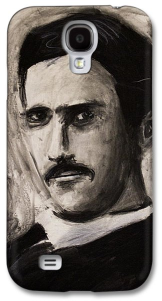 Electricity Drawings Galaxy S4 Cases - Nikola Tesla in coat charcoal drawing Galaxy S4 Case by Don Lee