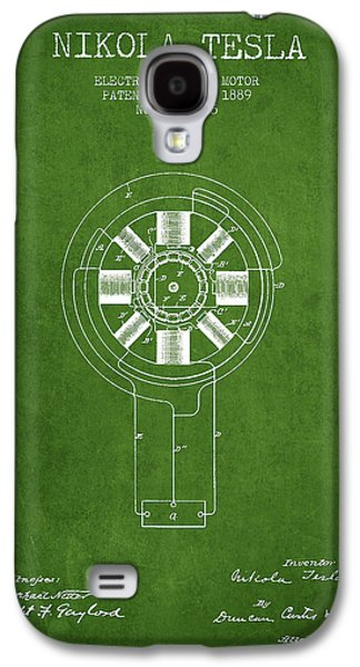 Nikola Tesla Patent Drawing From 1889 - Green Galaxy S4 Case by Aged Pixel