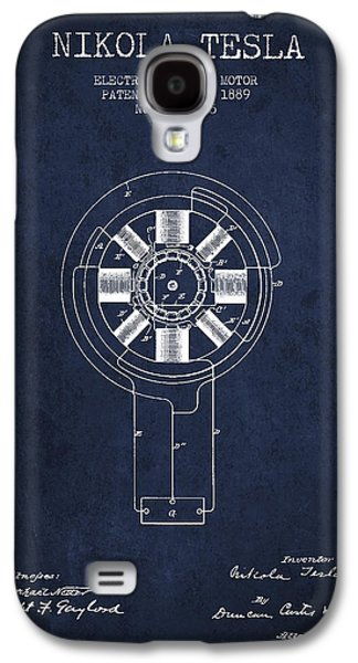 Nikola Tesla Patent Drawing From 1889 - Navy Blue Galaxy S4 Case by Aged Pixel