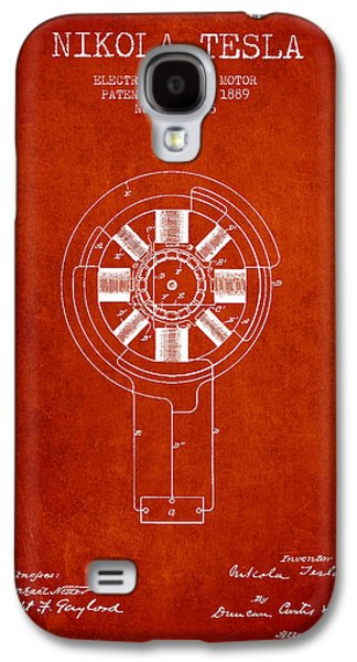 Generators Galaxy S4 Cases - Nikola Tesla Patent Drawing From 1889 - Red Galaxy S4 Case by Aged Pixel