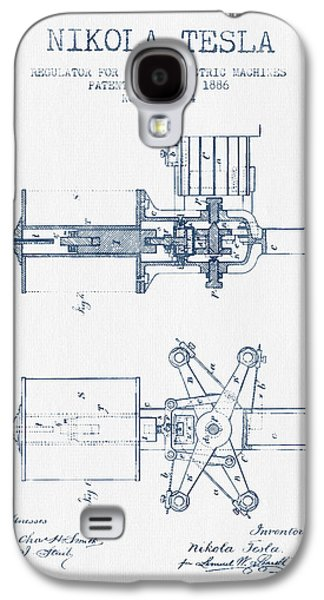Nikola Tesla Regulator Patent Drawing From 1886- Blue Ink Galaxy S4 Case by Aged Pixel