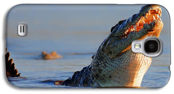 Feeding Photographs Galaxy S4 Cases - Nile crocodile raising out of water Galaxy S4 Case by Johan Swanepoel
