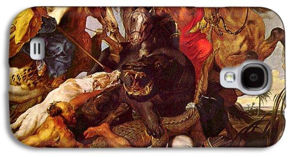 Hippopotamus Digital Art Galaxy S4 Cases - Nilpferdjagd Galaxy S4 Case by Peter Paul Rubens