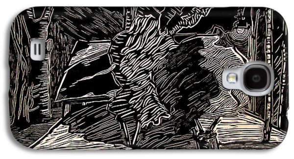 Linocut Galaxy S4 Cases - NITE LITE Golf Sheds Edition 25 Galaxy S4 Case by Charlie Spear