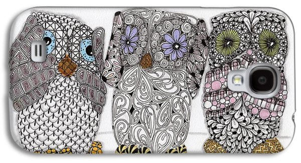Pen And Ink Drawing Drawings Galaxy S4 Cases - No Evil Owls Galaxy S4 Case by Paula Dickerhoff