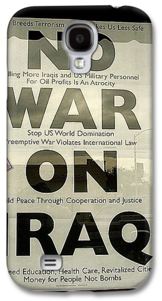 Iraq Posters Galaxy S4 Cases - No War on iraq poster for sale 4th avenue book store Tucson Arizona 2000 Galaxy S4 Case by David Lee Guss