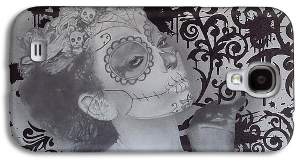 Mix Medium Drawings Galaxy S4 Cases - No.1 of 2 piece untitled dia de los muertos picture set Galaxy S4 Case by Asev One