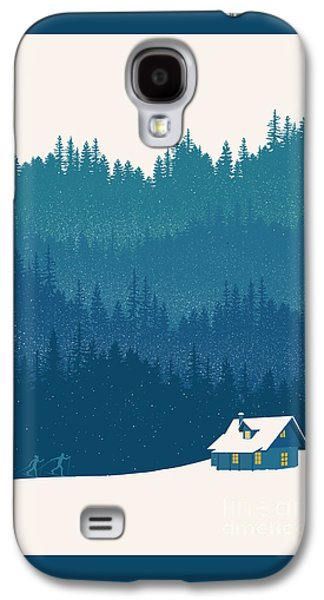 Skiing Posters Paintings Galaxy S4 Cases - Nordic Ski Scene Galaxy S4 Case by Sassan Filsoof