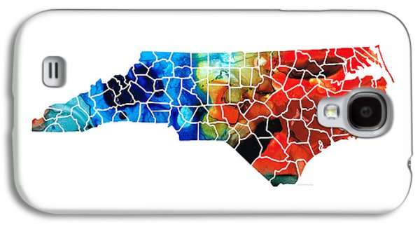 Panther Galaxy S4 Cases - North Carolina - Colorful Wall Map by Sharon Cummings Galaxy S4 Case by Sharon Cummings