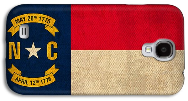 Charlotte Galaxy S4 Cases - North Carolina State Flag Art on Worn Canvas Galaxy S4 Case by Design Turnpike