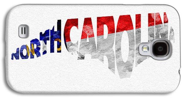 Charlotte Mixed Media Galaxy S4 Cases - North Carolina Typographic Map Flag Galaxy S4 Case by Ayse Deniz