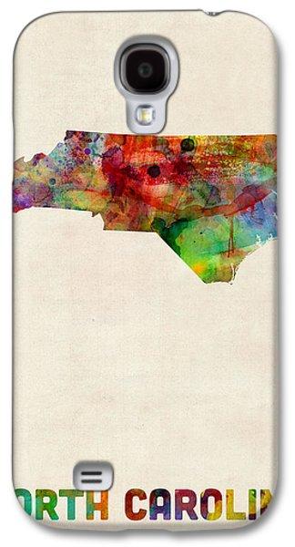 North Digital Galaxy S4 Cases - North Carolina Watercolor Map Galaxy S4 Case by Michael Tompsett