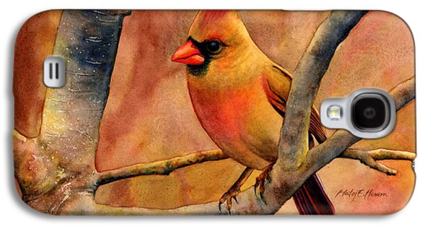 Singing Paintings Galaxy S4 Cases - Northern Cardinal II Galaxy S4 Case by Hailey E Herrera