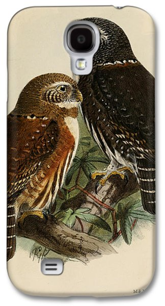 Talons Paintings Galaxy S4 Cases - Northern Pygmy Owl Galaxy S4 Case by J G Keulemans