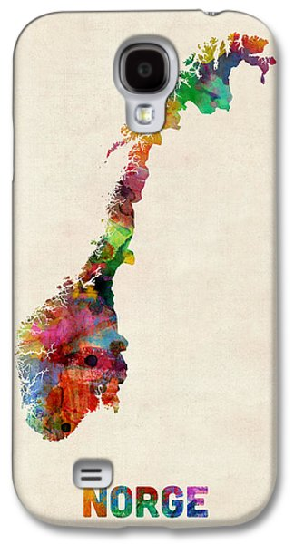 Norway Galaxy S4 Cases - Norway Watercolor Map Galaxy S4 Case by Michael Tompsett