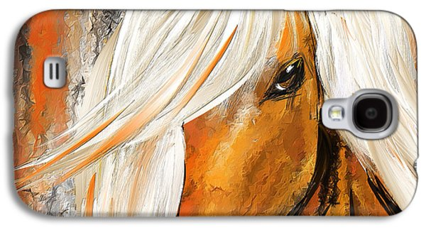 Kentucky Derby Galaxy S4 Cases - Not Your Ordinary- Colorful Horse- White And Brown Paintings Galaxy S4 Case by Lourry Legarde