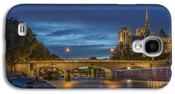 Universities Pyrography Galaxy S4 Cases - Notre Dame de Paris in the evening lights Galaxy S4 Case by Vyacheslav Isaev