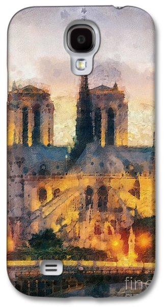 Universities Paintings Galaxy S4 Cases - Notre Dame de Paris Galaxy S4 Case by Mo T