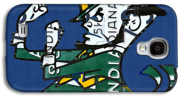 Universities Mixed Media Galaxy S4 Cases - Notre Dame Fighting Irish Leprechaun Vintage Indiana License Plate Art  Galaxy S4 Case by Design Turnpike