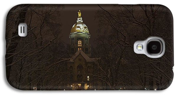 Holy Mother Galaxy S4 Cases - Notre Dame Golden Dome Snow Galaxy S4 Case by John Stephens