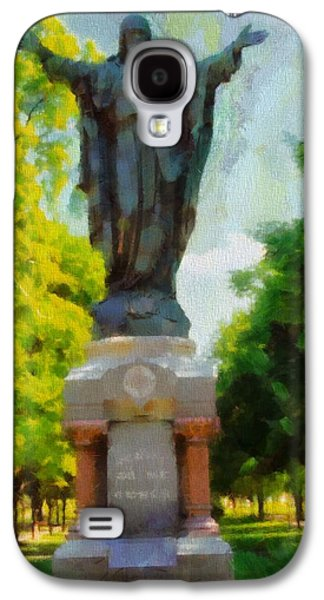 Universities Mixed Media Galaxy S4 Cases - Notre Dame Jesus Statue In Summer Galaxy S4 Case by Dan Sproul
