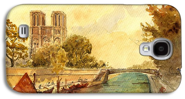 Universities Paintings Galaxy S4 Cases - Notre Dame Paris. Galaxy S4 Case by Juan  Bosco