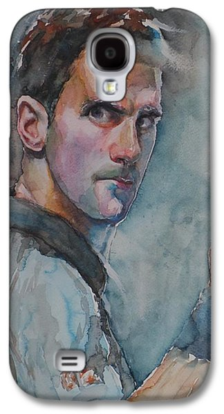 French Open Paintings Galaxy S4 Cases - Novak Djokovic - Portrait 1 Galaxy S4 Case by Baresh Kebar