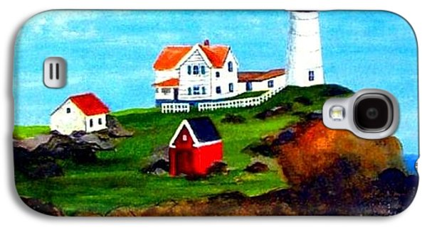 Nubble Lighthouse Paintings Galaxy S4 Cases - Nubble Light Galaxy S4 Case by David Richardson