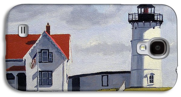 Nubble Lighthouse Paintings Galaxy S4 Cases - Nubble Lighthouse Maine Galaxy S4 Case by Christine Hopkins