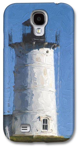Cape Neddick Lighthouse Galaxy S4 Cases - Nubble Lighthouse Maine Painterly Effect Galaxy S4 Case by Carol Leigh