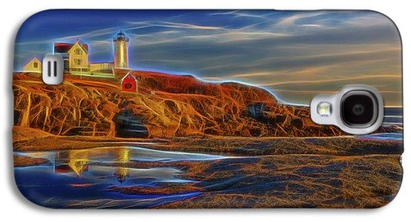 Cape Neddick Galaxy S4 Cases - Nubble Lighthouse Neon Glow Galaxy S4 Case by Susan Candelario