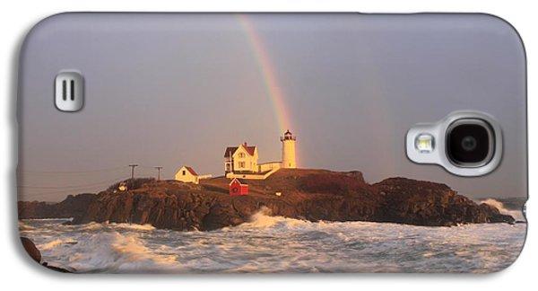 Cape Neddick Lighthouse Galaxy S4 Cases - Nubble Lighthouse Rainbow and High Surf Galaxy S4 Case by John Burk