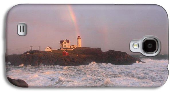Cape Neddick Lighthouse Galaxy S4 Cases - Nubble Lighthouse Rainbow and Surf at Sunset Galaxy S4 Case by John Burk