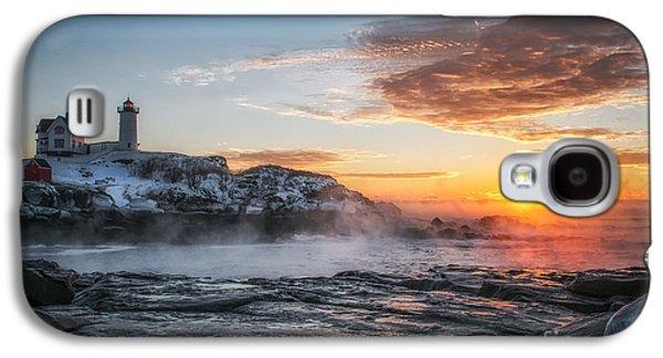 Cape Neddick Lighthouse Galaxy S4 Cases - Nubble Lighthouse Sea Smoke Sunrise Galaxy S4 Case by Scott Thorp