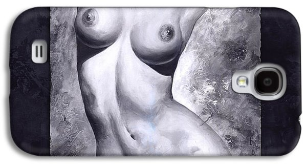 Nudes Digital Galaxy S4 Cases - Nude details - Digital color version frame blue Galaxy S4 Case by Emerico Imre Toth