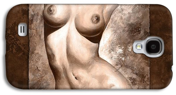 Nudes Digital Galaxy S4 Cases - Nude details - Digital color version frame brown Galaxy S4 Case by Emerico Imre Toth