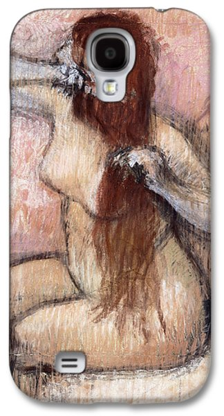 Impressionism Pastels Galaxy S4 Cases - Nude Seated Woman Arranging her Hair Femme nu assise se coiffant Galaxy S4 Case by Edgar Degas