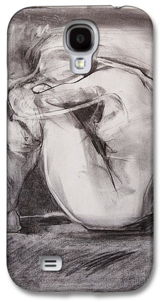 Nudes Pastels Galaxy S4 Cases - Nude with head on knees Galaxy S4 Case by Janet Goddard