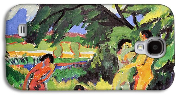 Wilderness Paintings Galaxy S4 Cases - Nudes Playing under Tree Galaxy S4 Case by Ernst Ludwig Kirchner